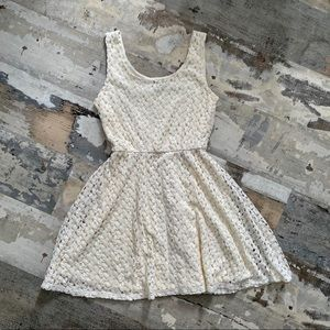 Like new lily rose white knit fit and flare dress